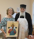 Mat. Joanna, workshop coordinator, with our teacher, Fr. Igumen Mefodii.