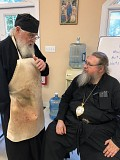 Met. Jonah and Fr. Igumen Mefodii meet for the first time.